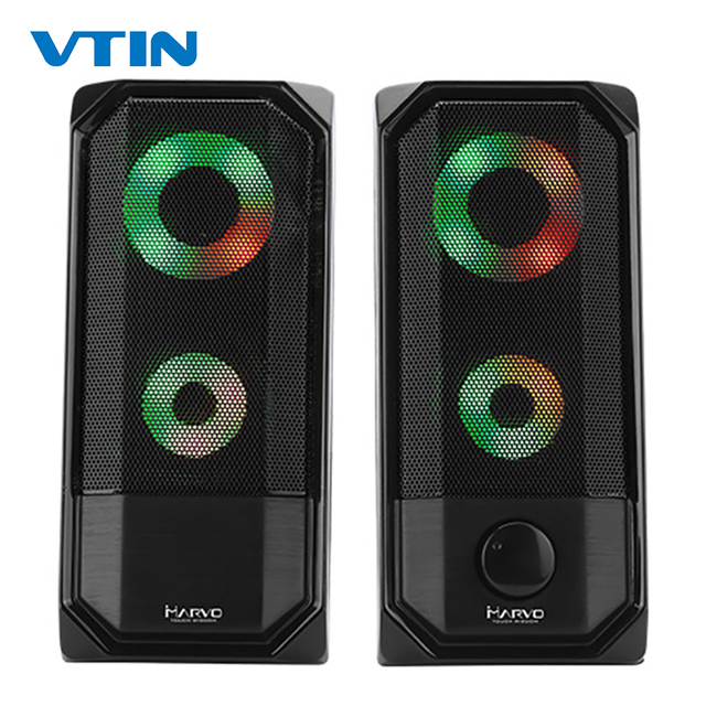 New Colorful Lights Computer Speaker 2.0 RGB Speaker Touch Control Light Portable Mini Speaker Super stereo Bass For Home Play