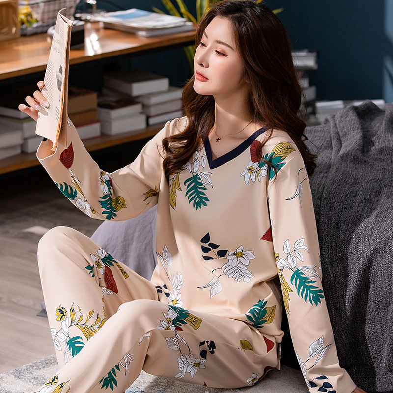 Women's Sleepwear Female Cotton Long Sleeve Korean Version Of Sweet Autumn And Winter Can Outer Wear Clothes At Home