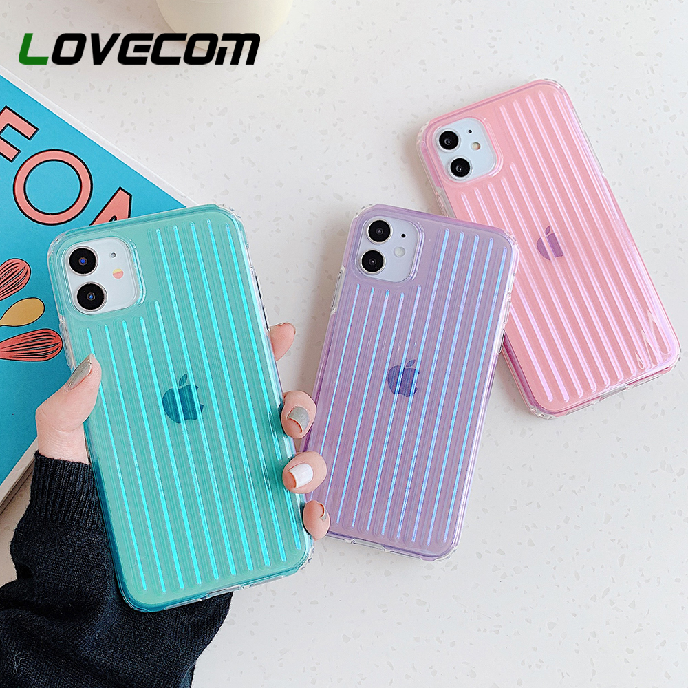 LOVECOM Internal Stripe Phone Case For iPhone 11 Pro Max XR XS Max 7 8 Plus X Glitter Candy Shockproof Soft Back Cover Coque