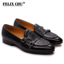 FELIX CHU Classic Monk Strap Mens Loafer Genuine Leather Gentlemen Wedding Party Casual Shoes Black Slip On Mens Dress Shoes