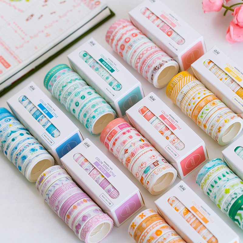 10pcs/lot Mohamm Leaves Foil Grid Floral Cute Paper Masking Washi Tape Set Japanese Stationery Scrapbooking Supplies