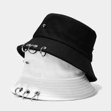 Kpop Jungkook Harajuku Hip Hop Solid Color Bucket Hat Spiked Rivets Metal Rings Outdoor Wide Brim Sunscreen Fisherman Cap
