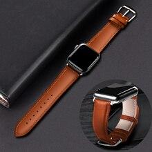 Коричневый кожаный ремешок для Apple Watch 4 3 2 1 38 мм 40 мм, мужской кожаный ремешок для iwatch 5 44 мм 42 мм браслет