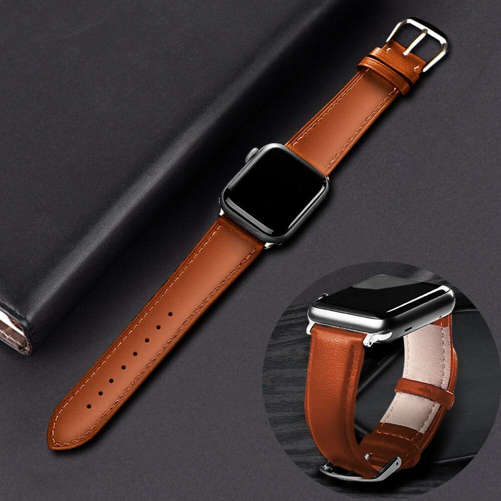 Braun Leder Band Schleife Strap Für Apple Uhr 4 3 2 1 38mm 40mm, männer Leder Uhr Band für iwatch 5 44mm 42mm Armband