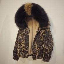 Women Winter Fashion Leopard Warm Fleece Jeans Jacket Short Thick Big Fur Hooded Parka Lambswool Denim