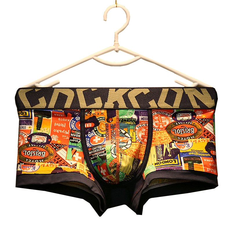 Underwear Man Slip Youth Personality Print Underpanties Brand High Street Men Boxer Shorts Cotton Gay Panties Of Large Sizes