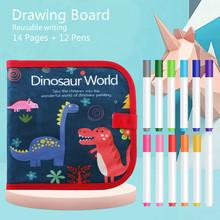 Portable Soft Chalk Board Drawing Book Magic Pen Painting Coloring Book DIY Blackboard Painting Drawing Board Kids Toys 12 Pens tanie tanio Tkaniny T0349 Unisex Deski kreślarskiej 3 lat