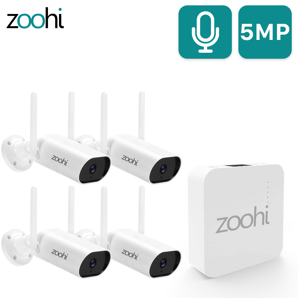 Zoohi 5MP Wireless Camera Set Wifi Mini NVR 1920P Surveillance Video System Sound Record Home Outdoor Security Camera System
