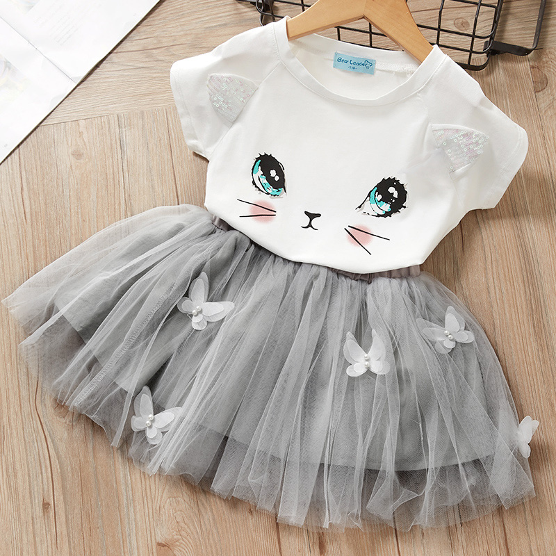 Girls Dress New Summer Kids Girl Party Dresses Cartoon Cute Cat Unicorn Print Baby Girls Suit Girl Cute T-shirt And Dress Suit
