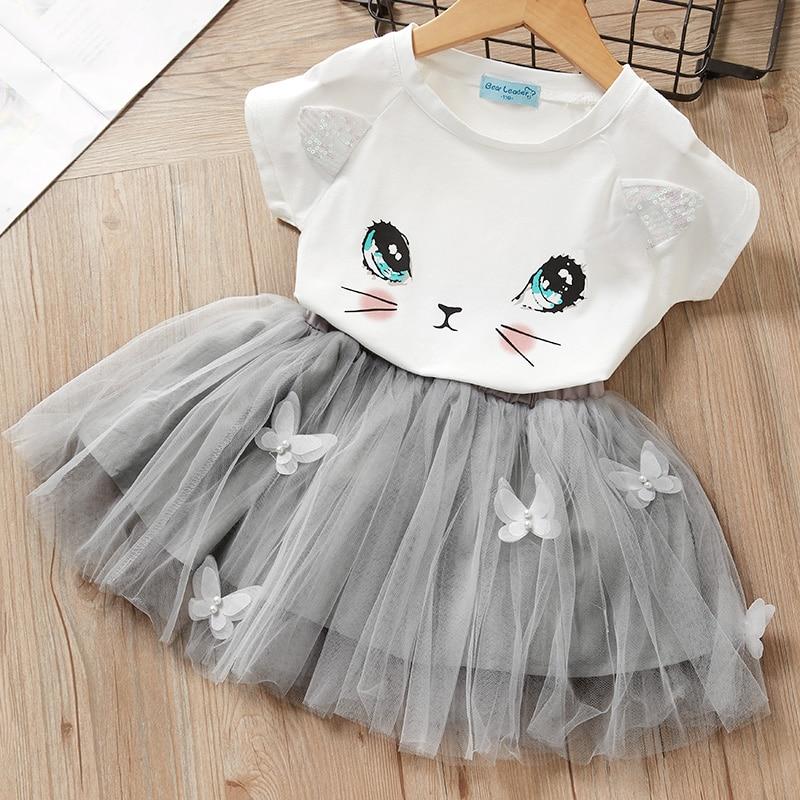 Girls Dress New Summer Kids Girl Party Dresses Cartoon Cute Cat Unicorn Print Baby Girls Suit Girl Cute T-shirt And Dress Suit