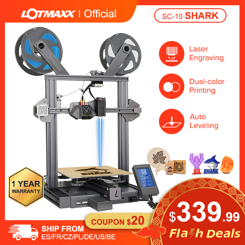 Lotmaxx Laser 3d Printer Diy Dual Kleur Afdrukken Auto Leveling Imprimante 3d Printer Machine Met Tft Touch Screen SC10 Shark