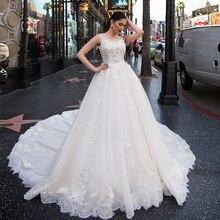 2020 فساتين زفاف رائعة مع ذيل شابيل Vestido De Noiva Princesa مطرز بالخرز دانتيل زينة الزهور فستان بودا