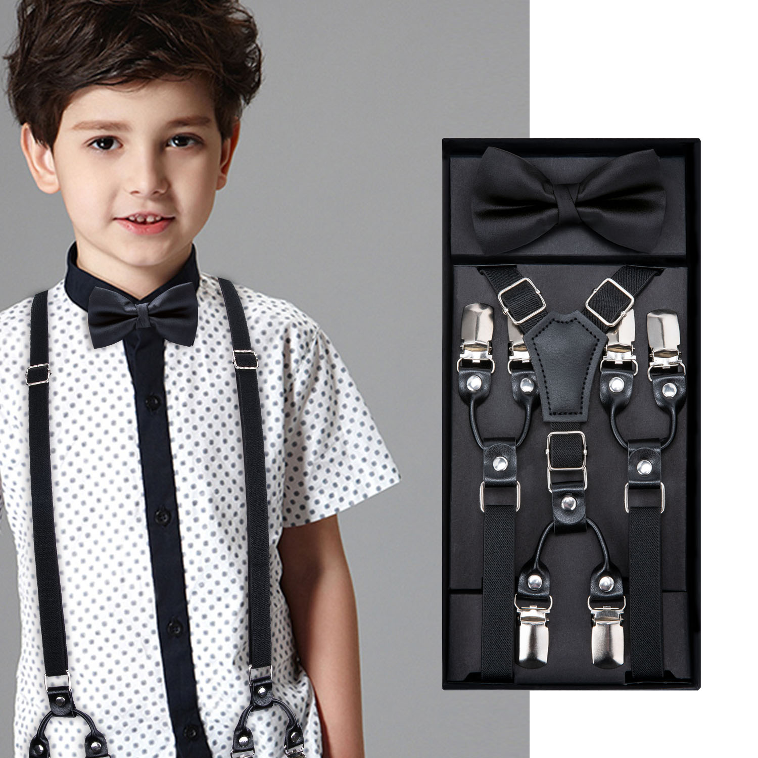 Kids Black Bow Tie Elastic Suspenders Boys Girls Wedding Suspender Set Children Adjustable Leather Y-Back Brace Belt DiBanGu