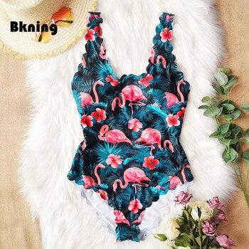 цена на Women One Piece Swimsuit Flounce Strappy Bathing Suit Plus Size Bandeau Monokini Maillot De Bain 2020 Femme Flamingo Print Swim