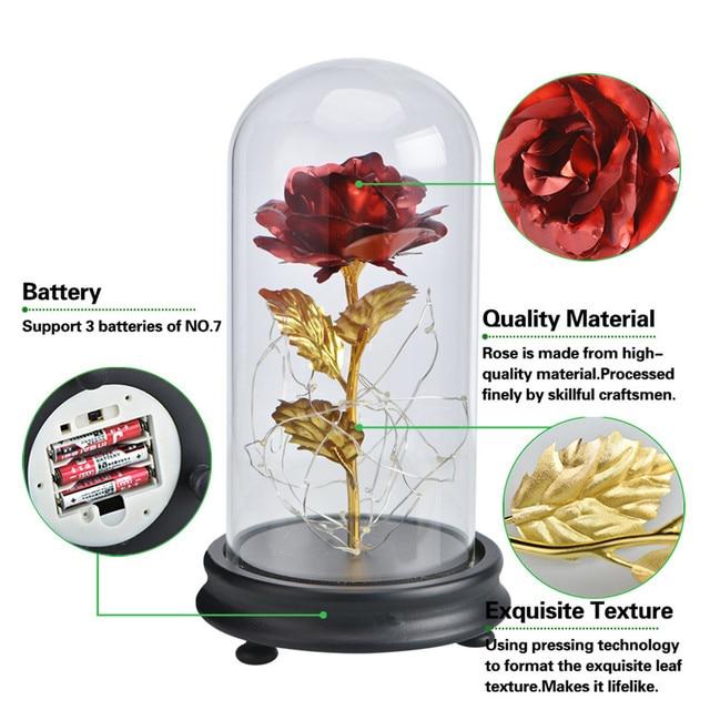 2020 Galaxy Rose Eeuwige 24K Goud Folie Bloemen In Glazen Koepel Met Led Licht Cadeaus Voor Moederdag bruiloft Decor Dropshipping