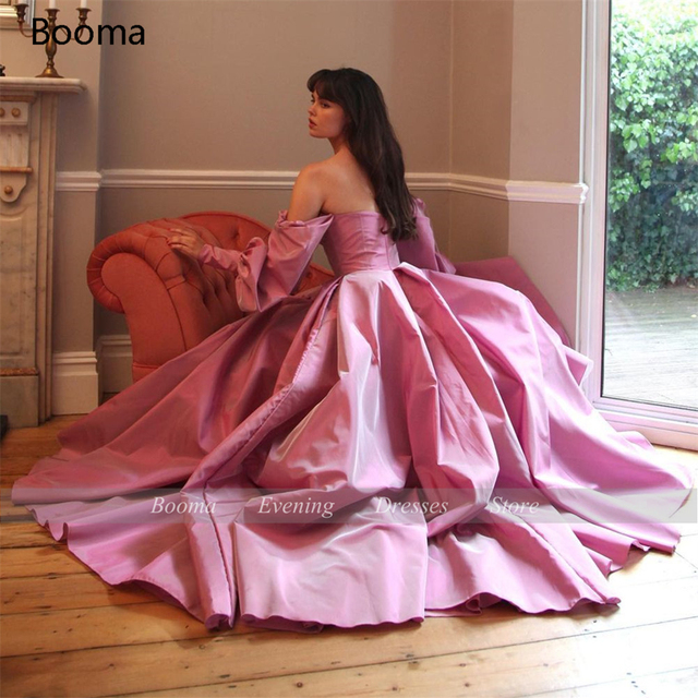 Booma Elegant Pink Prom Dresses Bishop Sleeves High Slit Taffeta Evening Dresses Sweetheart A-line Long Party Gowns with Buttons 2