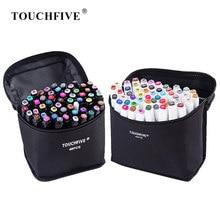 Touchfive 30/40/60/80 marcadores de cor caneta mangá desenho marcadores álcool baseado esboço feltro-ponta escova oleosa caneta arte suprimentos