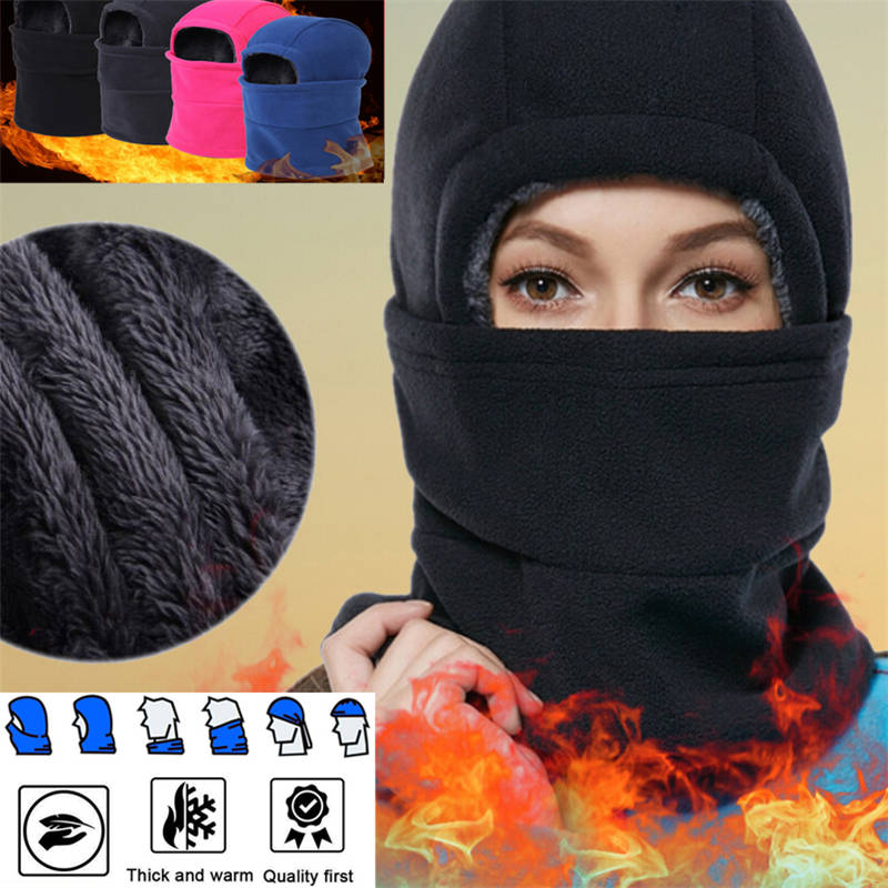 Thermal Fleece Balaclava Hat Hooded Neck Warmer Cycling Face Mask Outdoor Winter Skiing Sport Face Mask Men Cycling Masked Cap