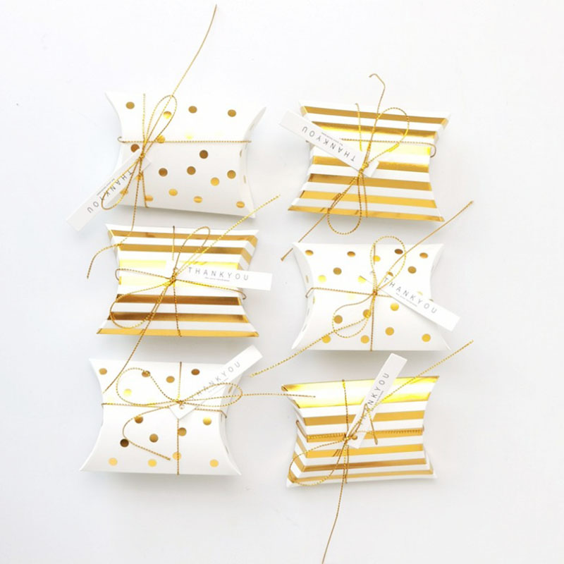 50pcs Gold Stamping Dot Stripe Cookie Box Pillow Shaped Dessert Box Cardboard Candy Box Baby Shower Party Supplies