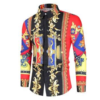Blusa informal de manga larga estilo coreano para hombre, camisa de estilo barroco para banquete, con estampado de Cachemira en color negro y dorado, corte entallado