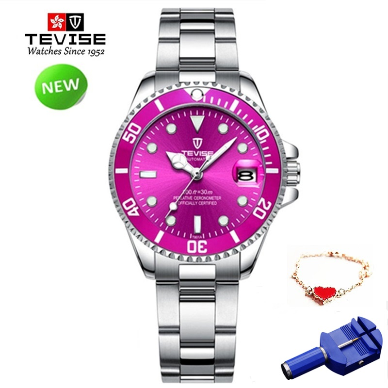 ženy sledují vodotěsný tissot - Brand TEVISE Quartz Women Bracelet Watches Stainless Steel Ladies Waterproof Wrist Watches For Woman Watch Casual Dropshipping