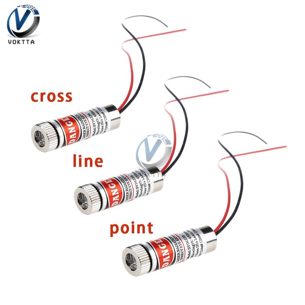 650nm 5mW 3V 5V Laser Red Point / Line / Cross Laser Module Head Glass Lens Focusable Industrial Class Adjustable Beam Version