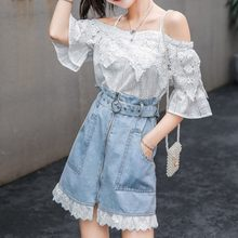 2020 Summer New 2 piece Sets Women Slash Neck Sexy Lace Flare Sleeve Tops And Denim Skirts With Belt Big Pockets Two Piece Sets(China)
