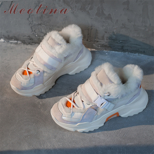 Meotina/зимние кроссовки на плоской подошве; Женская обувь; Натуральная кожа; Обувь на плоской платформе; Теплая обувь с круглым носком; Женская...