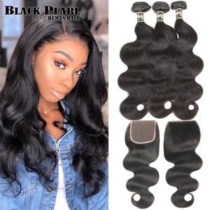 Black Pearl 30 Inch Brazilian Body Wave Bundles With Closure Brazilian Remy Human Hair Weave 3 4 Bundles With Closure