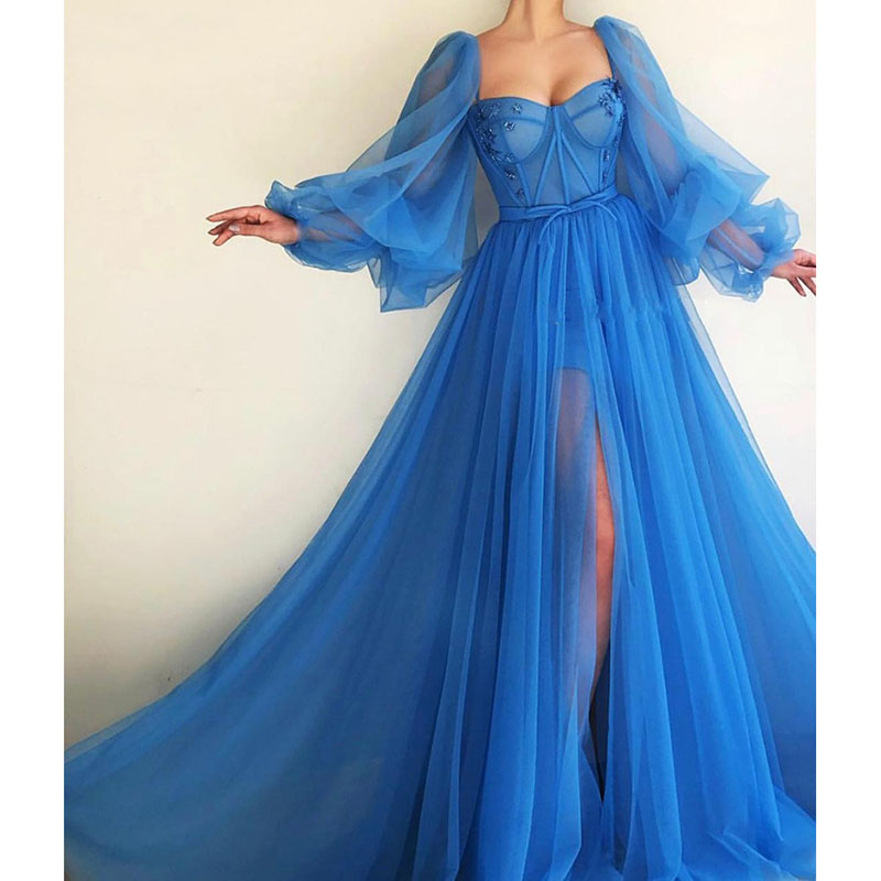 Dubai Evening Dresses 2019 A-line Sweetheart Long Sleeves Tulle Islamic Saudi Arabic Blue Long Evening Gown Prom Party Dress