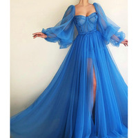 Dubai Evening Dresses 2019 A line Sweetheart Long Sleeves Tulle Islamic Saudi Arabic Blue Long Evening Gown Prom Party Dress