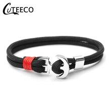 CUTEECO Fashion Silver Color Anchor Bracelets Men Charm Rope Chain Paracord Bracelet Male Wrap Metal Sport Hooks