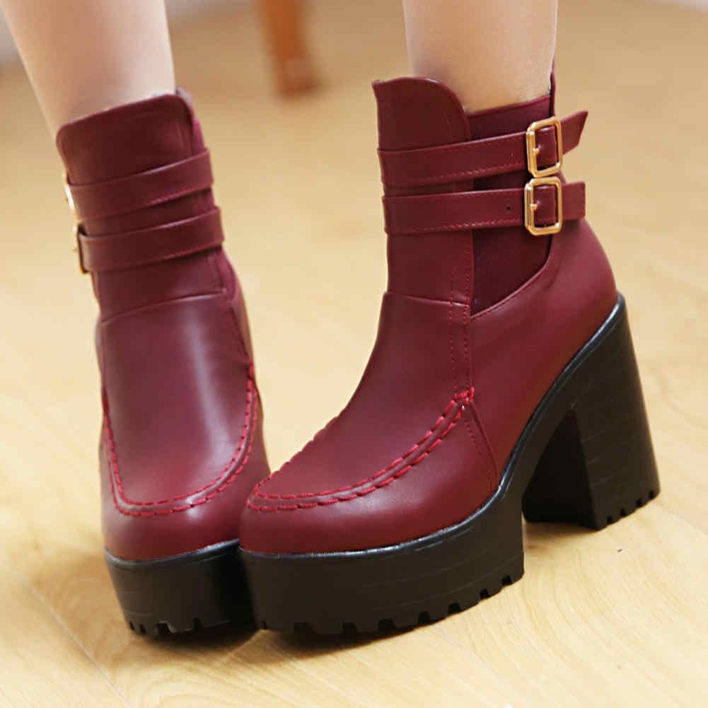 Satılık en kaliteli artı boyutu 34-43 platform kare yüksek topuklu çizmeler kadın ayakkabıları moda yarım çizmeler ayakkabı kadın