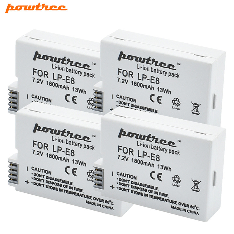 Powtree 7.2V 1800mAh LP-E8 LP E8 LPE8 DSLR Li-ion Camera <font><b>Battery</b></font> For <font><b>Canon</b></font> EOS 600D 650D <font><b>550D</b></font> 700D T4i T5i Rebel T2i <font><b>Battery</b></font> image