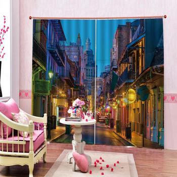 Beautiful City night building Scenic Curtains 3D Digital print for living room blackout window curtain