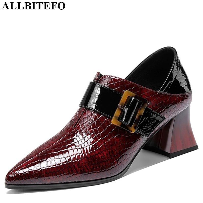 ALLBITEFO Fashion Women Heels Genuine Leather High Heel Shoes Spring Autumn Belt Buckle Pure Color Women Shoes High Heel