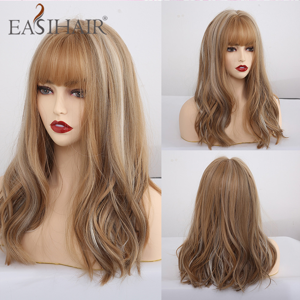 EASIHAIR Medium Wave Wigs With Bangs Brown Blonde Synthetic Wigs For Black Women Cosplay Wigs With Highlights Heat Resistant Wig