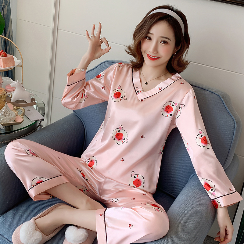 Liang Xing-V-neck Double Long Pink Pig Printed Pajamas Suit M -Xxl