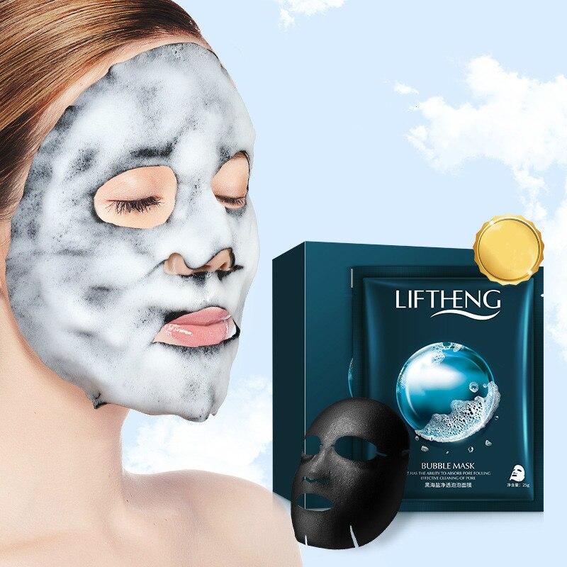 4Pcs Deep cleaning Sheet Mask Black Sea Salt Crystal Face Mask Oxygen Bubble Mask Facial Remove dirt Blackhead Bamboo Charcoal