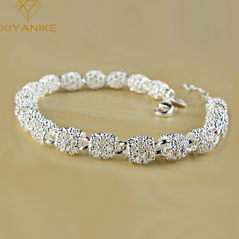 XIYANIKE 925 Sterling Silver Creative Fashion Bracelet for Women Wedding Couple Simple Geometric Paert Jewelry Prevent Allergy