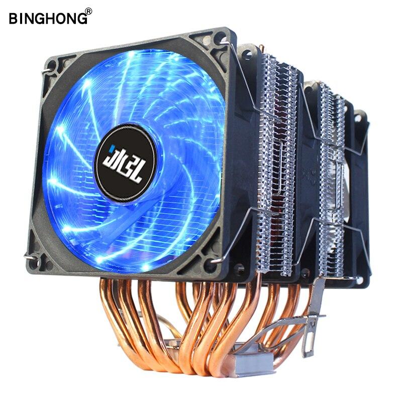 LGA 2011x79 90 мм тепловая труба 6 тепловых трубок для настольного компьютера кулер для процессора кронштейн вентилятора тихий радиатор для Intel 1156...