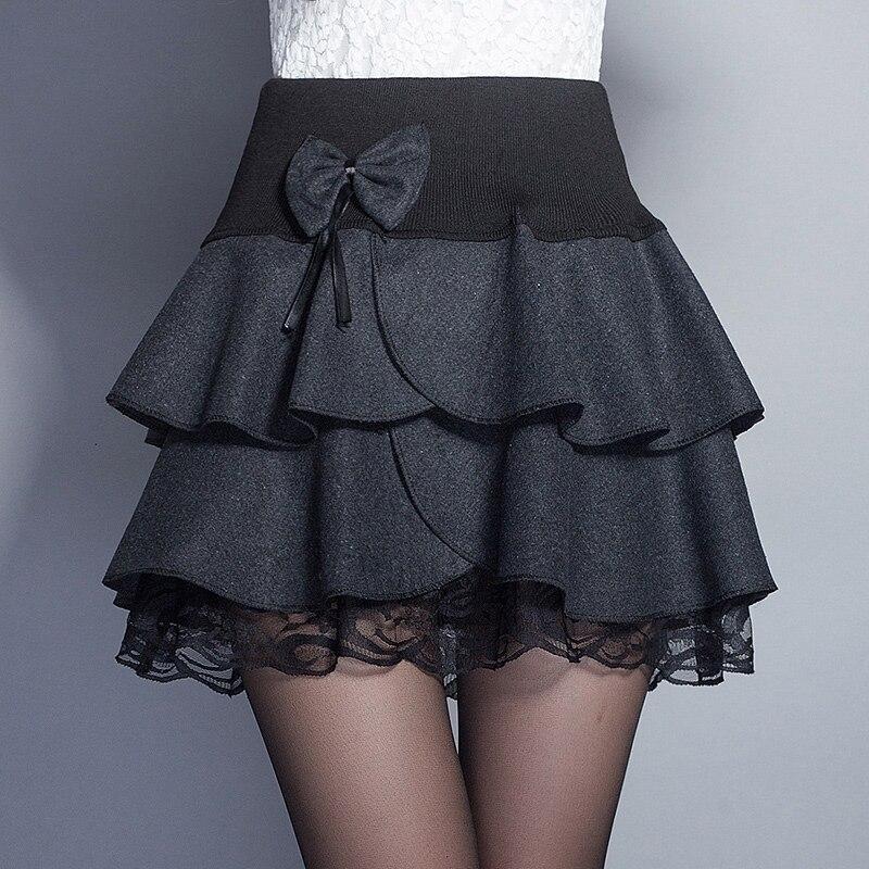 Thick Wool Skirt Women Autumn Winter Elegant Ladies Bow High Waist - Women's Clothing