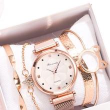 Rhinestone Watch Bracelet-Set Magnet-Buckle Flower Quartz Reloj-Mujer Fashion Ladies