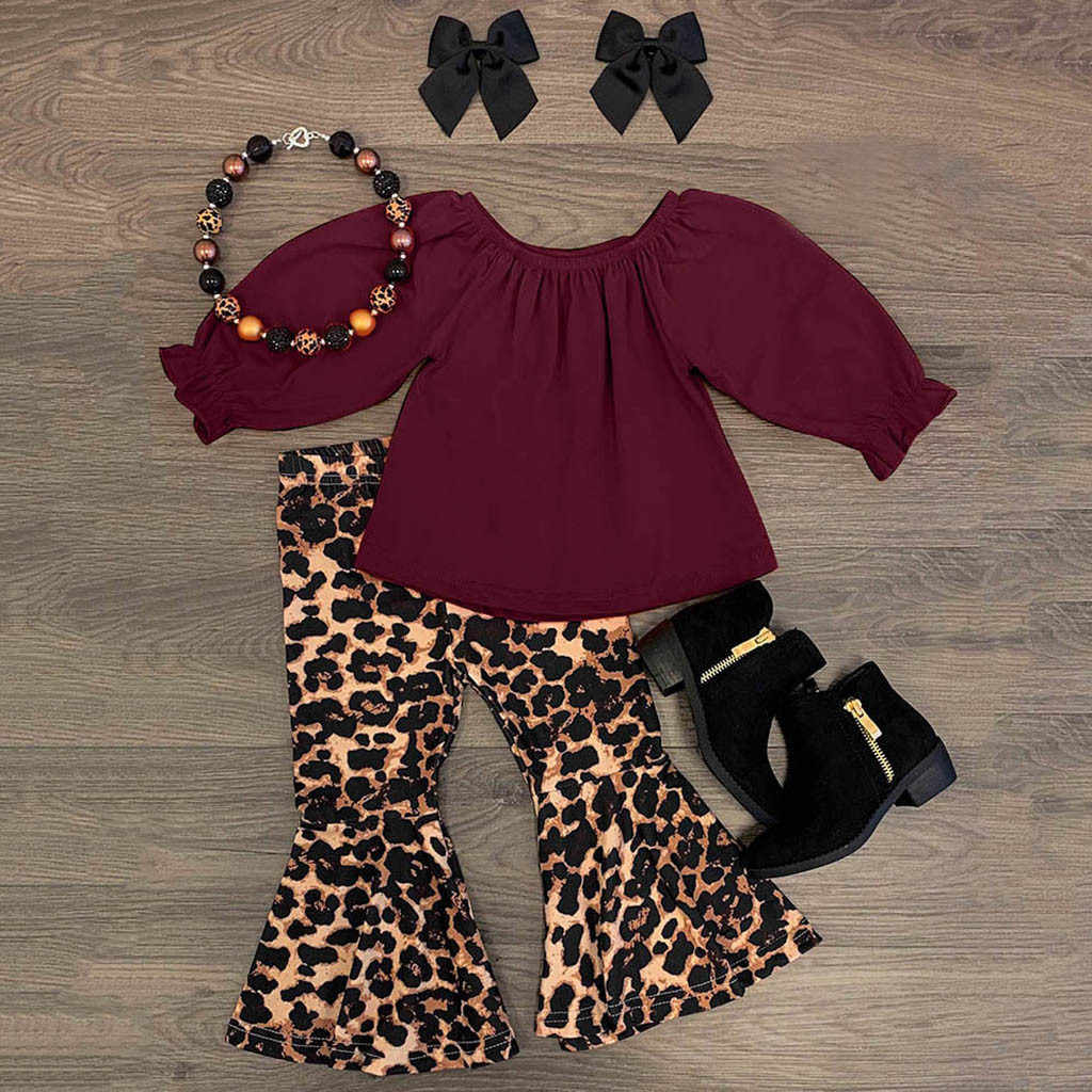 Toddler Baby Girl Outfit Sets Solid T-Shirt Tops+Leopard Suspender Skirt Dresses