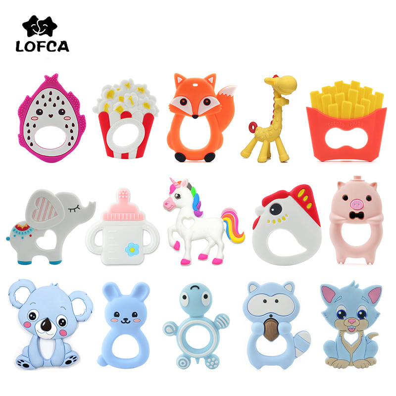 LOFCA 1PC Baby Teethers Cartoon Animal Baby Teething Toy Penguin Silicone Teether Unicorn Pendant Raccoon Necklace Accessories(China)