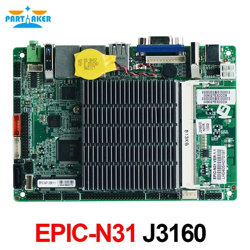 EPIC-N31 новейший дизайн EPIC 3,5 sbc материнская плата Мини безвентиляторный четырехъядерный процессор Материнская плата с J3160 процессором низкой ...
