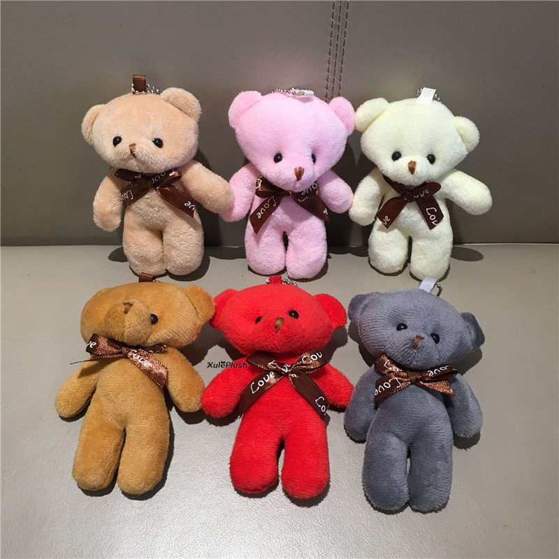 6 цветов, медведь, свадебная игрушка, 11 см плюшевая чучела сумка, Очаровательная кукла, подарок, брелок
