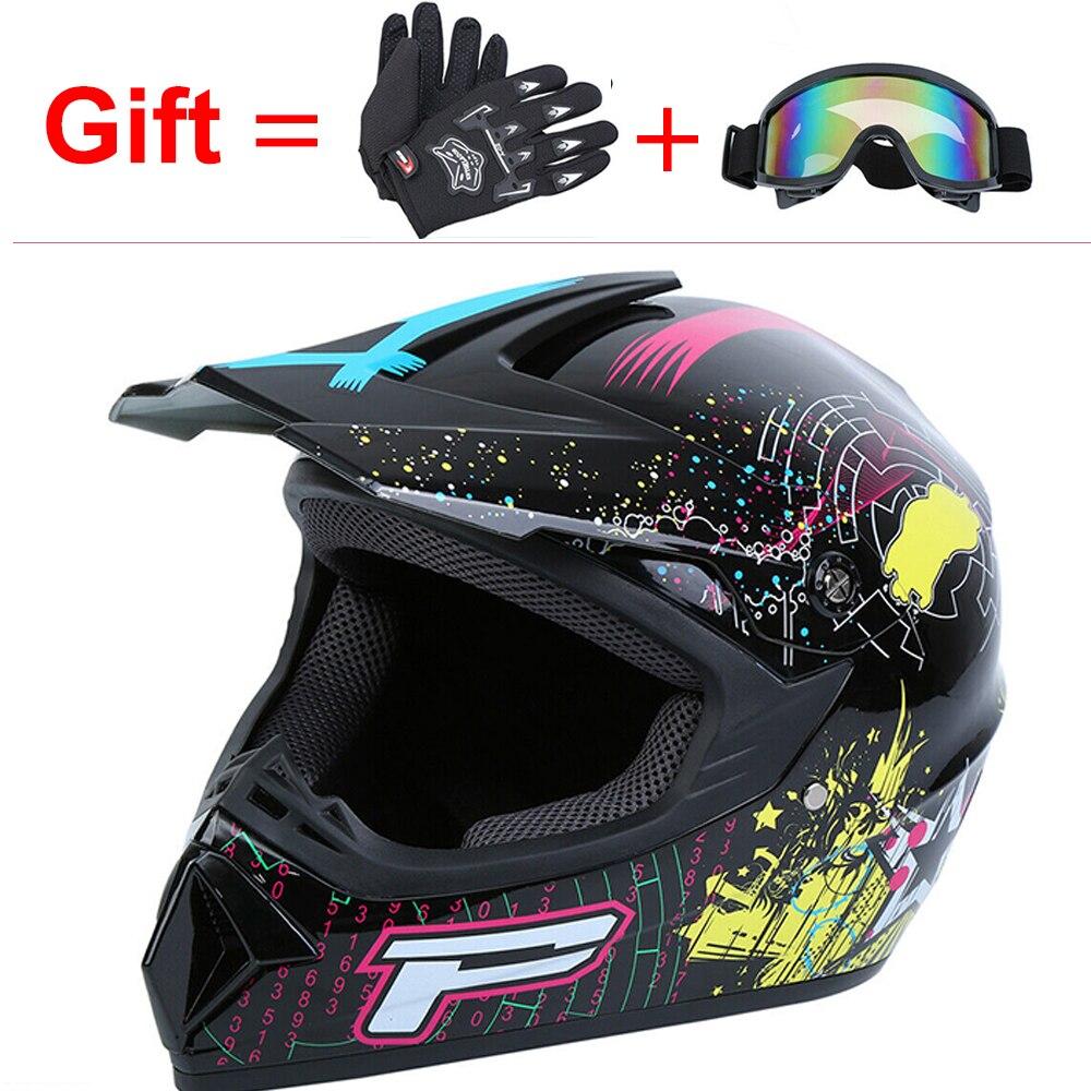 Casque de moto professionnel Motocross hors route casque de moto casque pour enfants adultes avec lunettes gants de moto