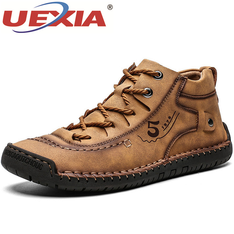 UEXIA Outdoor Sport Men Boots High Quality Split Leather Ankle Snow Shoes Warm Fur Plush Lace-Up Winter Footwear Plus Size 38~48