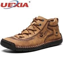 UEXIA Outdoor Sport Men Boots High Quality Split Leather Ankle Snow Shoes Warm Fur Plush Lace-Up Winter Footwear Plus Size 38~48